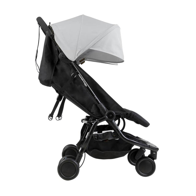 Mountain Buggy nano duo double lightweight buggy side view with seat reclined in colour silver_silver