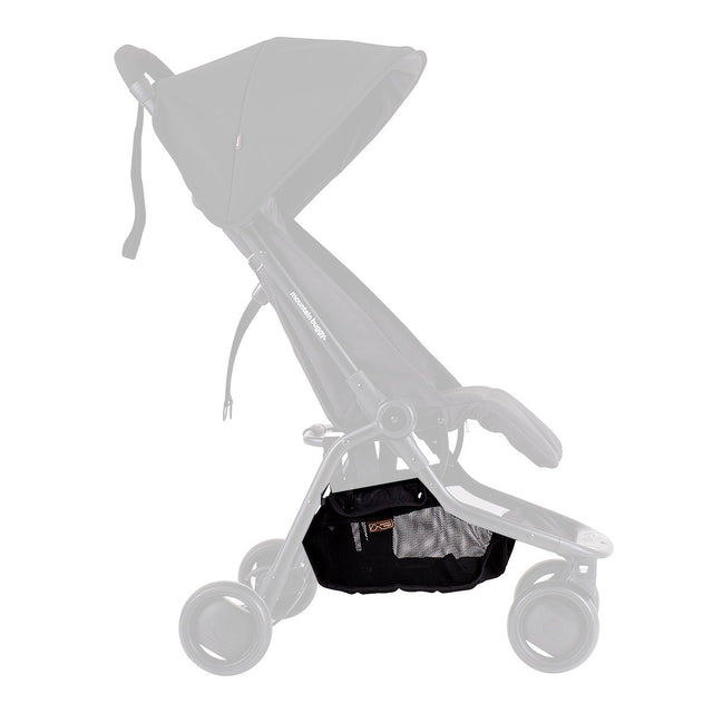 Mountain Buggy side view of nano parcel tray replacement shown on buggy in colour black_black