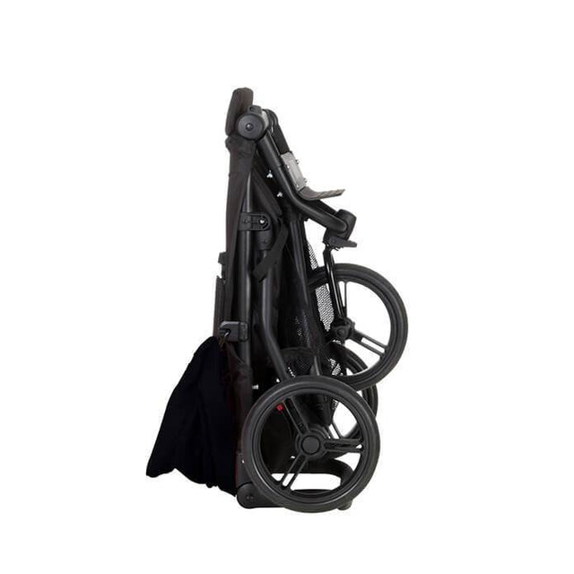 Mountain Buggy mini stroller in black colour folded side view_black