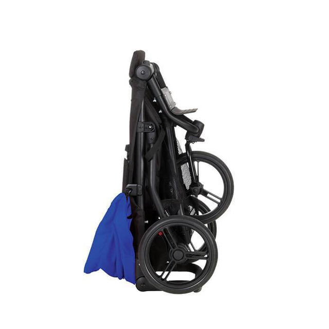 Mountain Buggy mini stroller in royal blue colour folded side view_royal