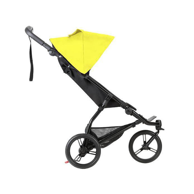 Mountain Buggy mini stroller in cyber yellow colour side view_cyber