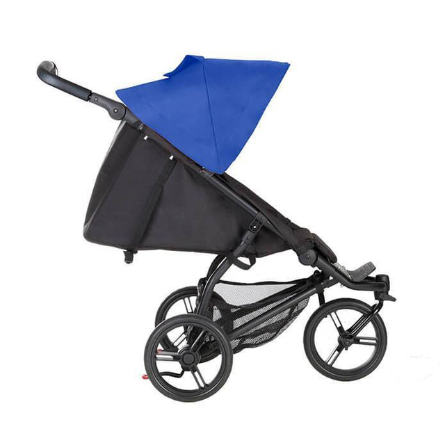 Mountain Buggy mini stroller in royal blue colour lie flat mode side view_royal