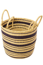 Load image into Gallery viewer, Set of Three Striped Nesting Hamper Baskets