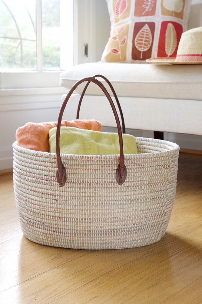 Oval Knitting Basket with Leather Handles