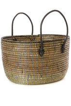 Load image into Gallery viewer, Oval Knitting Basket with Leather Handles
