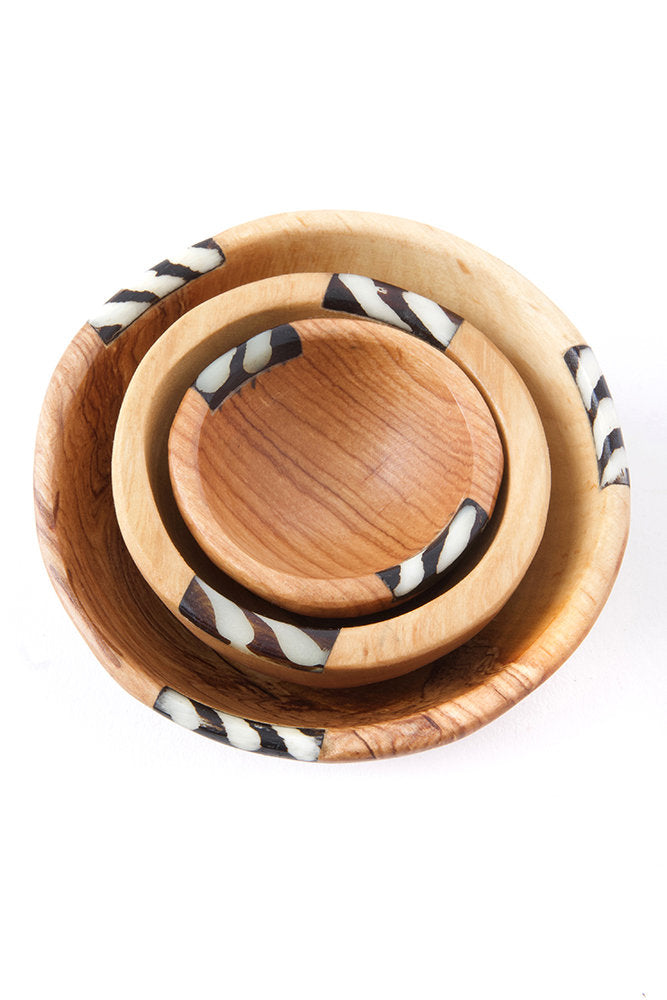 Set of Three Small Wild Olive Wood Spice Bowls