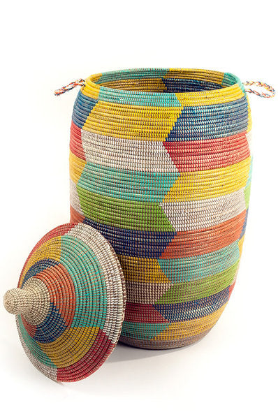 Extra Large Rainbow Herringbone Hamper Basket (PRE-ORDER)