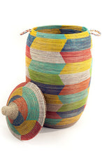 Load image into Gallery viewer, Extra Large Rainbow Herringbone Hamper Basket (PRE-ORDER)