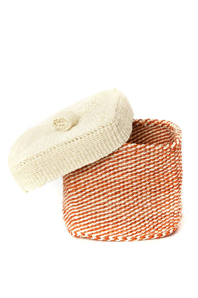 Set of Two Lidded Twill Sisal Containers