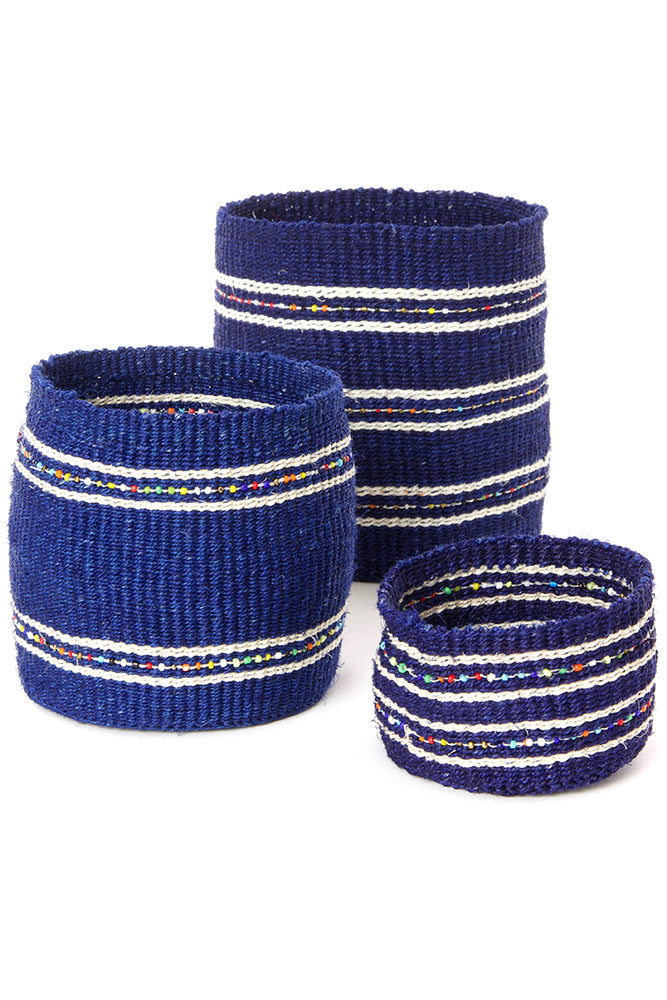 Set of Three Sisal Baskets with Colorful Beads
