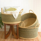 Set of Three Stripe Floor Baskets