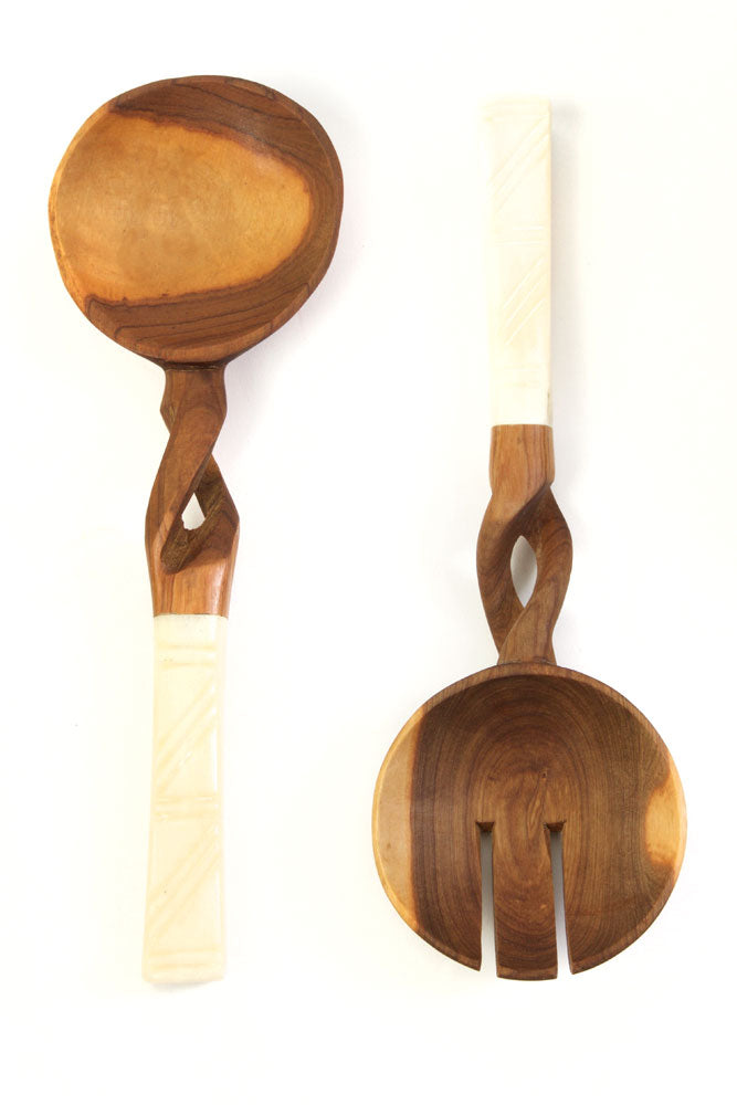 Twisted Olive Wood Salad Servers
