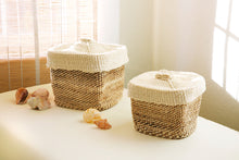 Load image into Gallery viewer, Set of Two Lidded Twill Sisal Containers