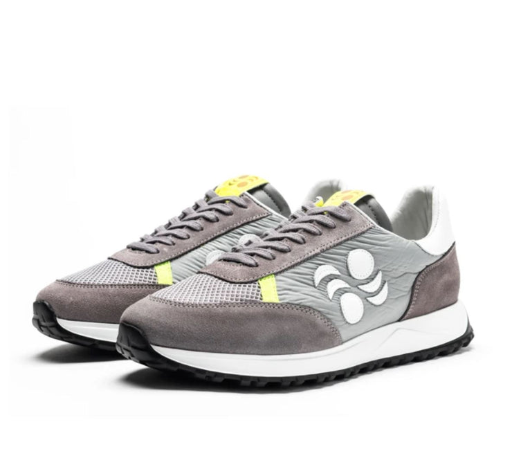 TOURING SUEDE-TRIMMED LEATHER SNEAKERS -GREY/YELLOW/WHITE