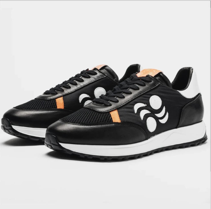 TOURING SUEDE-TRIMMED LEATHER SNEAKERS -BLACK/WHITE/MANGO