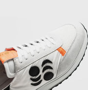 TOURING SUEDE-TRIMMED LEATHER SNEAKERS - WHITE/MANGO ORANGE