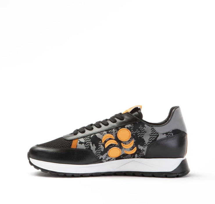 TOURING SUEDE-TRIMMED LEATHER SNEAKERS -CAMO/ORANGE/GREY