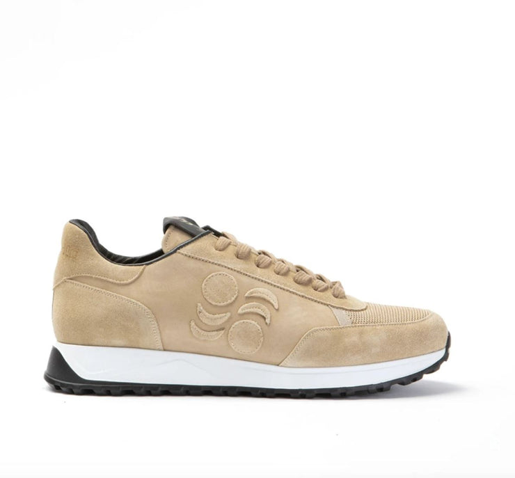 TOURING SUEDE-TRIMMED LEATHER SNEAKERS -NUBUCK SUEDE BEIGE