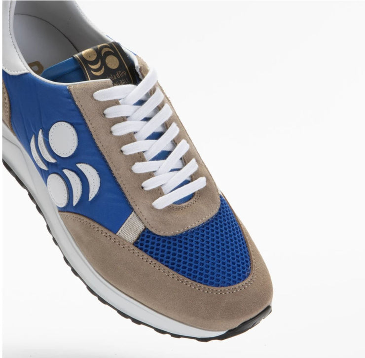 TOURING SUEDE-TRIMMED LEATHER SNEAKERS - ROYAL BLUE/GREY/WHITE