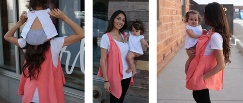 Back, Front, and Side angle photo shots of the breastvest.  Split back opening for ease of movenment, Open look that is flattering for postpartum mothers, and a side angle view of the deep pockets that hold all the things. all in one breastfeeding cover
