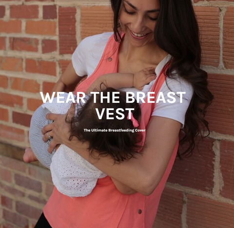 Mother breastfeeding her baby wearing the breast vest