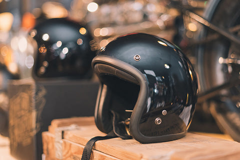 Picture of open face helmet at the store