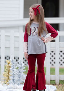 Girls' ruby velvet flare pants