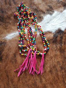 Rainbow beaded pink tassel necklace