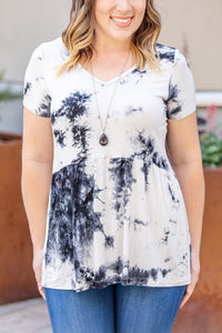 IN STOCK Sarah Ruffle Top - Black Tie Dye