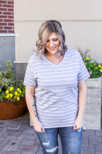 Load image into Gallery viewer, IN STOCK Classic V-Neck Tee - Heather Grey with White Stripe