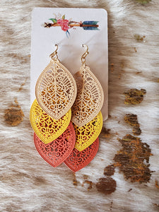 Gorgeous tri drop earrings
