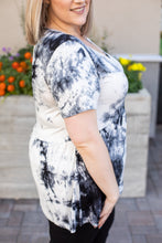 Load image into Gallery viewer, IN STOCK Sarah Ruffle Top - Black Tie Dye