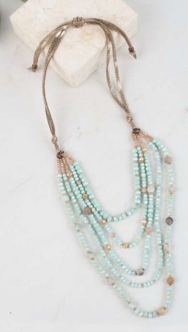 Dressed to impress draped necklace mint