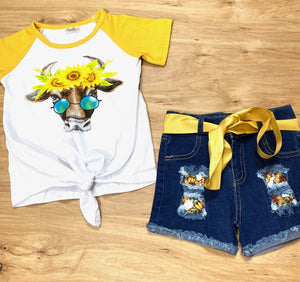 Sunflowers 'n Steer Denim Shorts Set