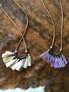 Leather strap necklace