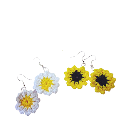 Mini Crochet Daisy and Sunflower Earrings