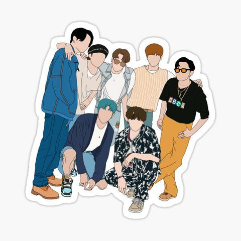 Bts Full A4 size Vinyl Stickers for Kids, Scrapbooking, Waterbottles, Electronic Gadgets etc.