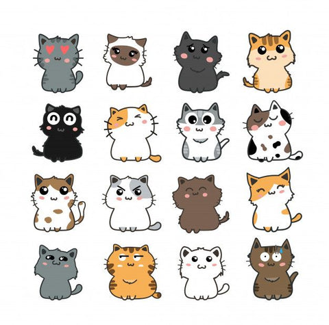 Cat Vinyl Waterproof Stickers for Kids, Scrapbooking, Waterbottles, Electronic Gadgets etc.