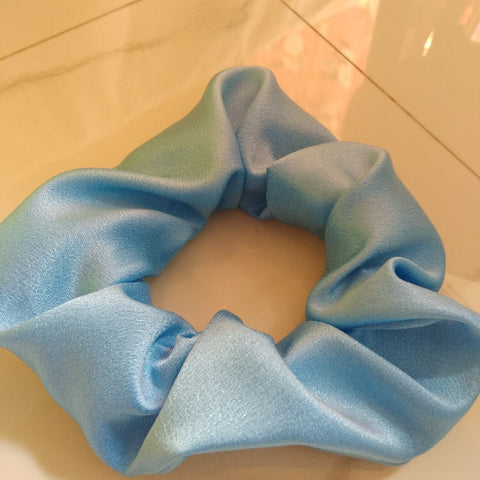 Blue Satin Large Scrunch
