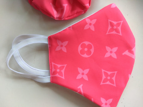 Pink Louis Vuitton Print Mask