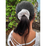 Double layer scrunchie with pearl on it| net scrunchie| white satin scrunchie|