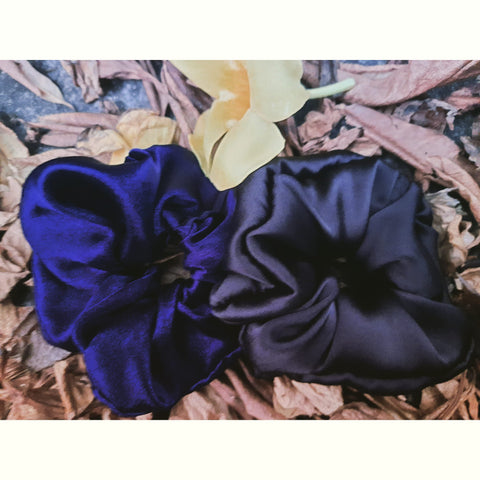 Silk Satin Scrunchie| Royal Blue Scrunchie| Black Scrunchie