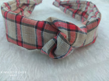 Load image into Gallery viewer, Red Plaid Knot Hairband
