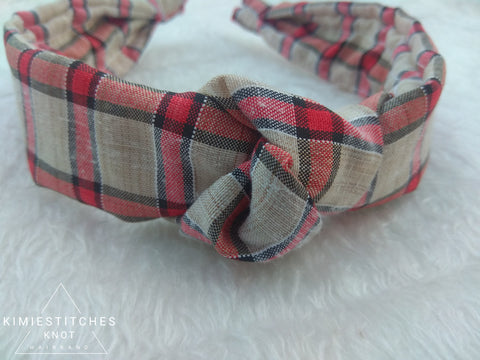 Red Plaid Knot Hairband