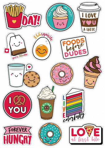 Kawaii Food Vinyl Stickers for Kids, Scrapbooking, Waterbottles, Electronic Gadgets etc.