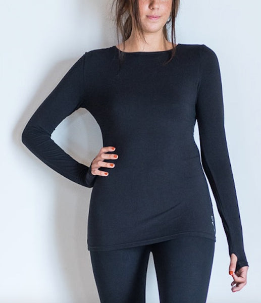 Black Long Sleeve Yoga Top