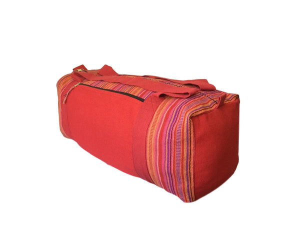 Handmade Nepali Nepalese Red Striped Yoga Holdall Bag