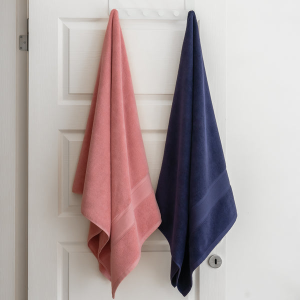 Coral and Navy Blue Towels