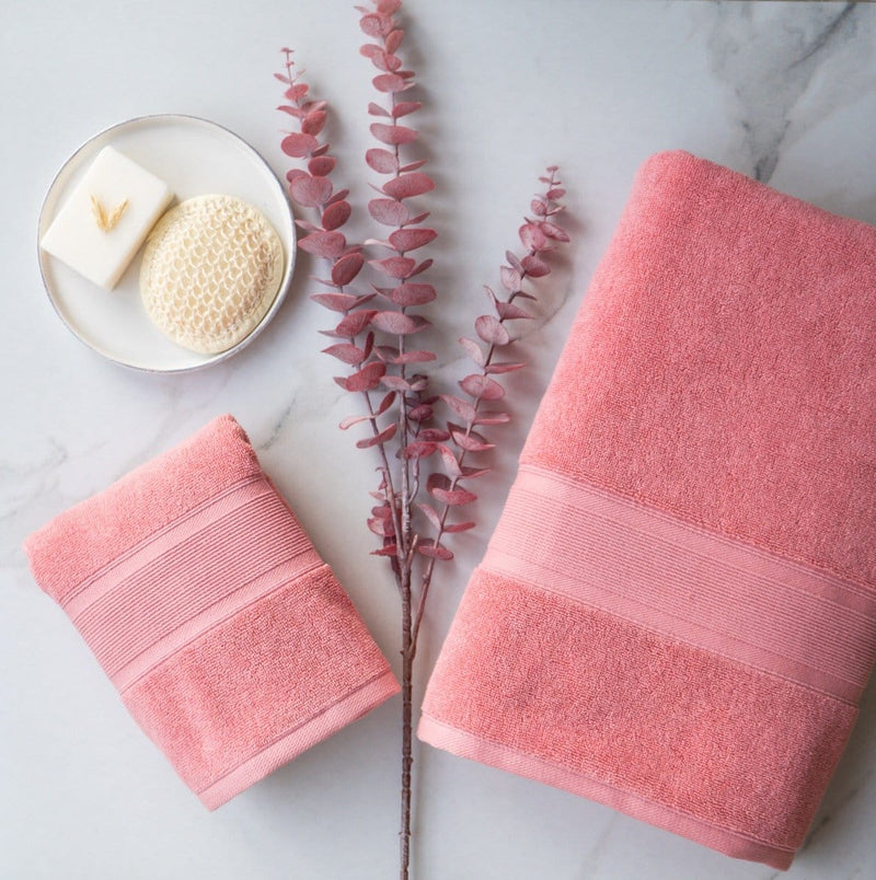 Luzia Coral Towels on Marble