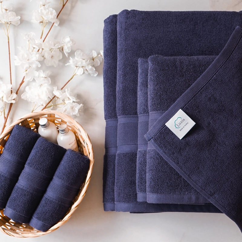 Luzia Navy Blue Towel Set 8 Piece
